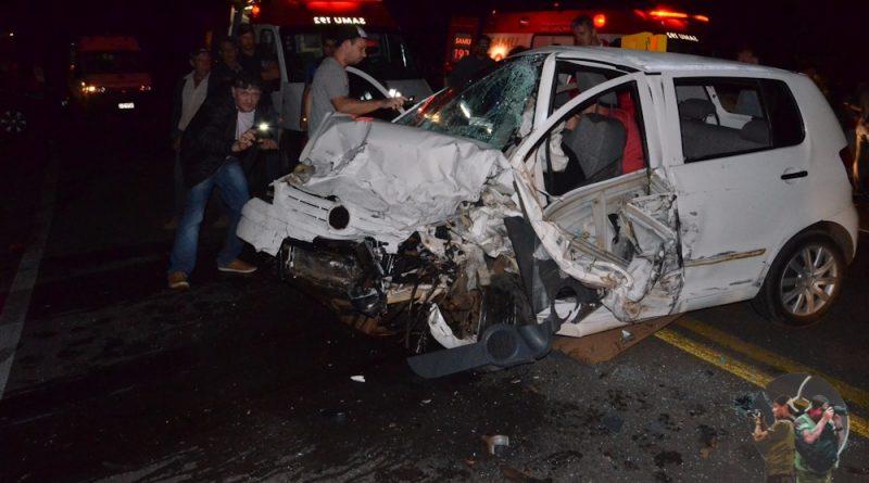 Acidente domingo a noite na BR 386 entre Carazinho/Sarandi deixa uma pessoa morta e seis feridas
